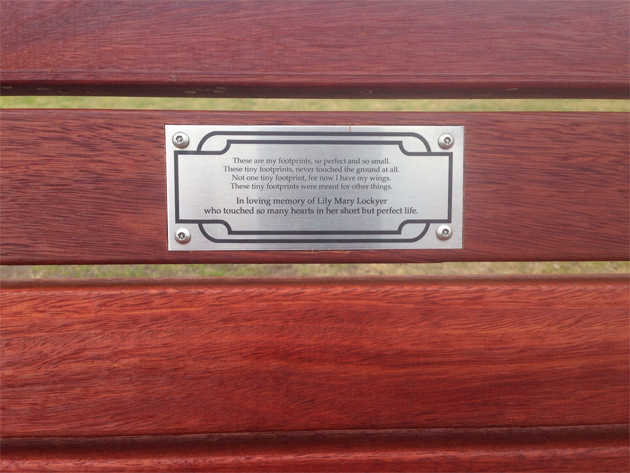 The plaque on Lily's commemorative bench