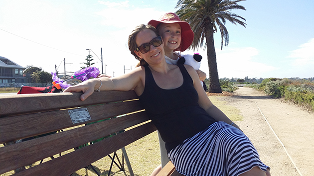 Kristie and Lily's eldest cousin Sophie at Lily's memorial bench