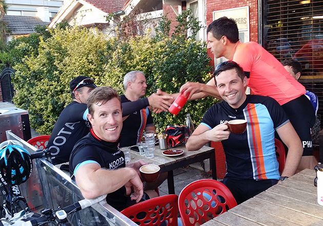 Grant enjoying a post ride coffee with his Koota Cycling friends