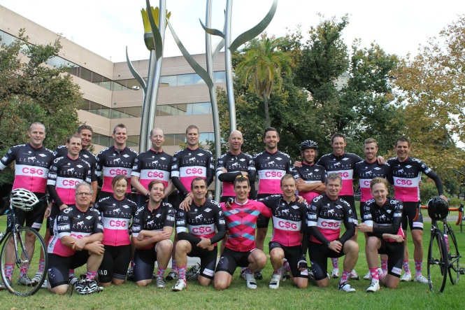 The Inaugural Lilyroo Riders outside the Women's and Children's Hospital in Adelaide