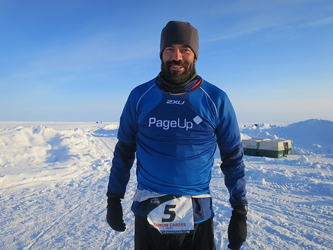 Simon Cariss at the North Pole Marathon