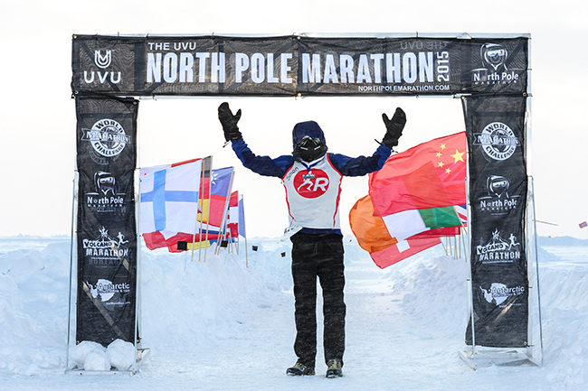 Simon at the finish of the North Pole Marathon
