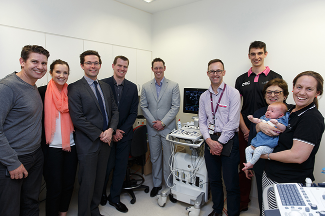 Representatives from the 2015 Lilyroo Ride unveiling the portable cardiac ultrasound machine with A/Prof Carl Kuschel, Director Neonatal Services, and Sue Zablud, Chair of the Women's Foundation.