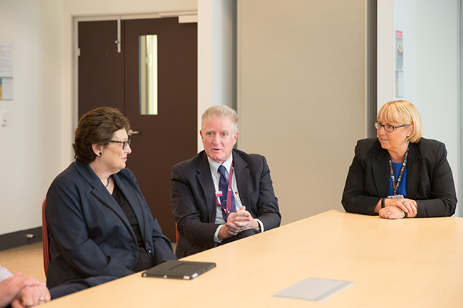 Members of the Women's executive team, L-R: Sue Zablud, Chair of the Women's Foundation; Dr Mark Garwood, Chief Medical Officer; Dr Sue Matthews, CEO.
